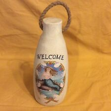 Wood Buoy with Rope Mermaid Blue White Nautical Tropical Home Decor Welcome