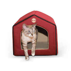 """K&H PET PRODUCTS 3633 Red / Tan UNHEATED INDOOR PET HOUSE RED / TAN 16"""" X 15""""..."""
