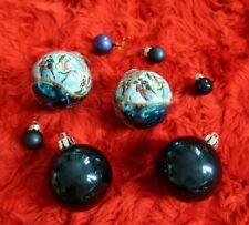 Vintage Christmas Scene Baubles Mix Blue x 8