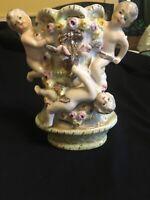 "Vintage Cherub Vase Porcelain 6.5"""