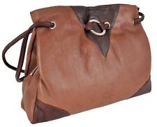 Gigi Mid Brown / Dark Brown Soft Leather Shoulder Bag Best Seller 9335