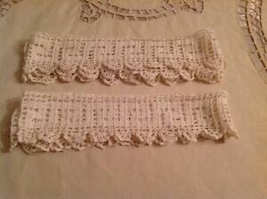 """Handmade Crocheted Pillow Case trims  Ivory 20"""" Set of 2  Antique"""
