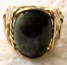 Bloodstone Gemstone Ring 14k Gold gf Mens or Ladies Wide Band