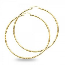 14k Yellow Gold Big Round Hoop Earrings Large Diamond Cut Satin Finish Solid