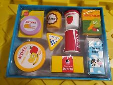 Wooden Blocks Pretend Play Food Grocery Store Kitchen Snack Set 9 Pieces NEW!