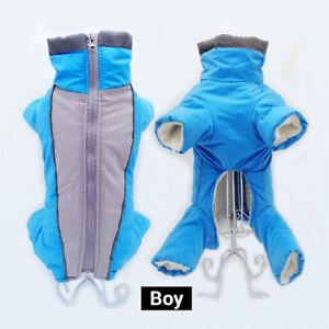 Reflective Pet Dog Clothes Winter Warm Fleece Jumpsuit Jacket Coat Waterproof