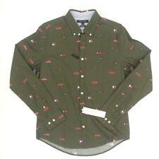 Tommy Hilfiger Men's Button Down Slim Fit Monogram Logo Shirt Green 2xl