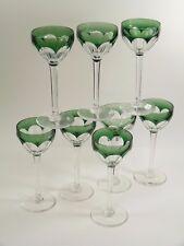 VAL St LAMBERT Crystal - OSRAM Cut - Coloured Wine Glasses - Set of 8