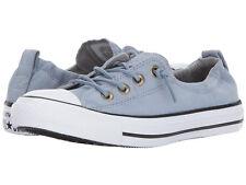 Converse Women's CT AS Shoreline Blue/Grey/White Brushed Slip-On Sneaker-Sz 6/8