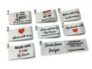 Handmade personalised sew in craft business labels for fabric satin ribbon white