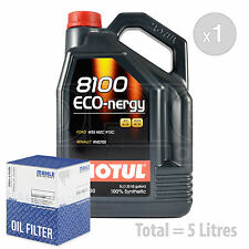 Engine Oil and Filter Service Kit 5 LITRES Motul 8100 Eco-nergy 5W-30 5L