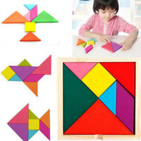 Hot Children Kids Educational Tangram Shape Wooden Puzzle Toys Brand New Portabl