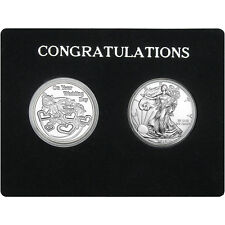 Congratulations Wedding Day Silver Round and Silver American Eagle 2pc Set