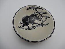 African Wart hog Hand Painted Soapstone Bowl Trinket Dish Kenya 4 Inch