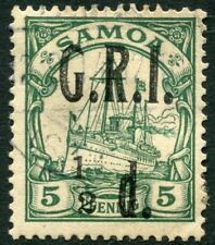 """SAMOA-1914 ½d on 5pf Green with """"1"""" to left of """"2"""" in """"½"""" Sg 102e V22008"""