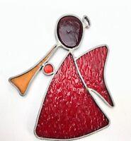 """VTG Christmas Ornament Suncatcher Stained Textured Red Glass Handmade 5.25"""" NICE"""