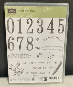 Stampin Up NUMBER OF YEARS Birthday Sayings Words Greetings Rubber Stamps Set