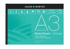 A3 DALER ROWNEY BRISTOL BOARD Bianco Liscio Scheda AEROGRAFO inchiostro Artist Pad 250GSM