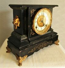 More details for antique ansonia co usa french style mantel clock. black iron case ormolu