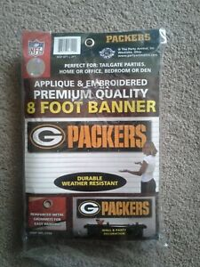 GREEN BAY PACKERS NFL FLAG 8 X 2 BANNER APPLIQUE & EMBROIDERED NYLON 8 FOOT