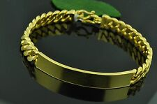 999.9 24K Solid Yellow gold Handmade I D Bracelet   7.5 inches 46.00 grams