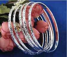 5PCS Wholesale  fashion  Silver Carving Women's Bracelet Bangle Gift