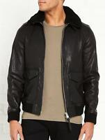 Mens Black Leather Jacket Bomber Pure Lambskin Size XS S M L XL XXL Custom Made