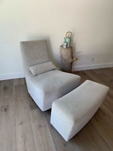 Ligne Roset 'Neo' Rocking Chair & Ottoman by Alban-Sebastien Gilles, Light Grey