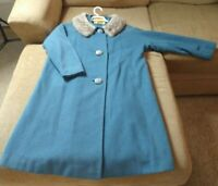 Vintage Ivey's and Co Full Length Medium Blue Woman's Wool Coat w/ Fur Collar
