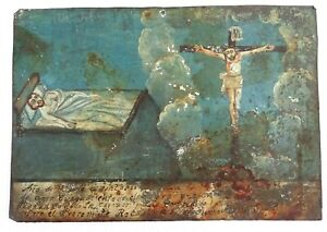 "Antique Spanish Colonial Painting Retablo on Tin, RARE Crucifixion, Dated ""1895"""