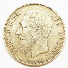 Ecu 5 francs argent leopold II belgique l'union fait la force 1869