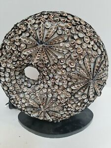 Round Fibreglass Lamp Covered With Genuine Shells on black timber base home deco