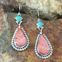 Vintage Boho Tibetan 925 Silver Turquoise Dangle Hook Earrings Women's Jewelry