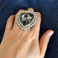 Forever 21 F21 Dark Gray Heart Bling Stretch Ring - Size 6-8