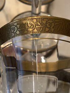 "Wine Glasses Set 8 Gold Trim 6 3/4"" Tall Antique Vintage Mid Century Modern"