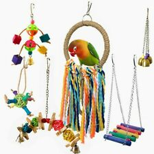 6Pcs Parrot Bird Toy Funny Assorted Bite Resistant Bird Cage Toy Colorful Swing