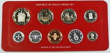 1978 Republic of Malta Proof Set, 9 Gem Coins, Made by the Franklin Mint W/ COA