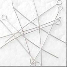 100 pieces 0.8mm thickness Iron Eyepins - Silver - A6028 / 38mm
