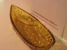 "Vintage ~Daisy Button ""AMBER COLOR"" Canoe Shaped~Fenton OR Lg Smith Glass Dish"