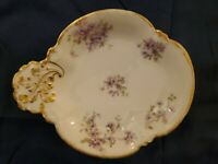 "Limoges GDA France Ch Field Haviland Violets Vanity or Serving Dish 8"" X 6.5"""