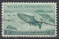 USA Briefmarke gestempelt 3c Wildlife Conservation King Salmon Fisch Tier / 2641