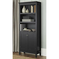 Bookcase With Doors 3 Shelf Storage Organizer Vertical Bookshelf Wood Black NEW