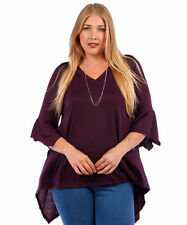 Womens EGGPLANT Purple Sharkbite Bell Sleeves Asym Top Yummy Plus Size 3X