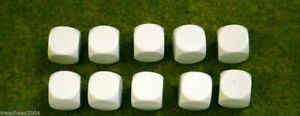 10 x 16mm BLANK SIX SIDED DICE WHITE wargames dice or casualty markers