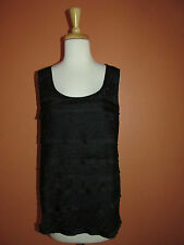 Chico's Size 3 L 16-18 Black Tiered Lace Sleeveless Tank Cami Top