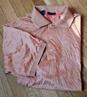 Jeff Rose L Orange Polo Golf Short Sleeve Shirt 100% Cotton Filoscozia Italy