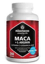 Maca Kapseln hochdosiert + L-Arginin + Vitamine + Zink 240 Kapseln für 2 Monate
