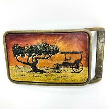 Brass Belt Buckle Leather Face with Mesquite Tree and Buggy Carriage