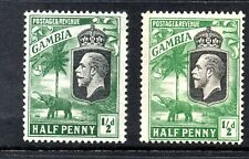 GAMBIA Stamps 1922  SG 122-123  ½d Wmk MSCA  Mounted Mint