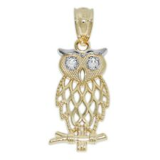 Gold Owl Charm, 14k Solid Gold